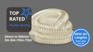 This image shows the new length of flexible ducting and that the 3m variant is available for purchase