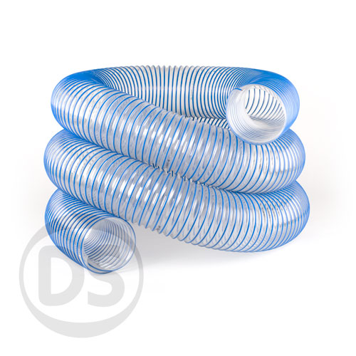 6 In Flexible Duct Hose : Heavy duty flexible ducting hose pu blue spiral mm